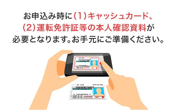 紀陽銀行カードローンのWEB契約。申込時にキャッシュカードと運転免許証の本人確認資料が必要となります。手元に準備しておいて下さい。