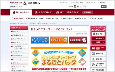 武蔵野銀行のフリーローン