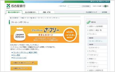 名古屋銀行のフリーローン